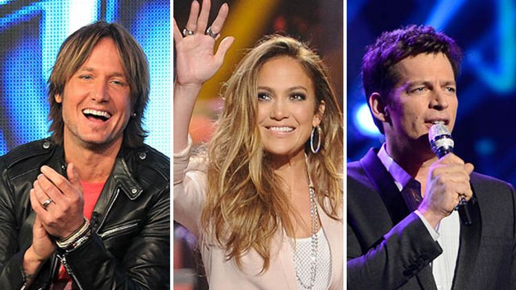 Keith Urban, Jennifer Lopez, and Harry Connick, Jr.