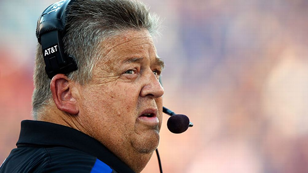 Head coach Charlie Weis of the Kansas Jayhawks watches from the sidelines during the game against the South Dakota State Jackrabbits at Memorial Stadium on September 1, 2012 in Lawrence, Kansas.