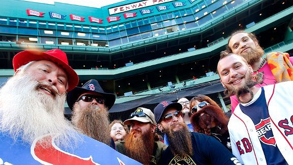 Boston Red Sox fans with beards