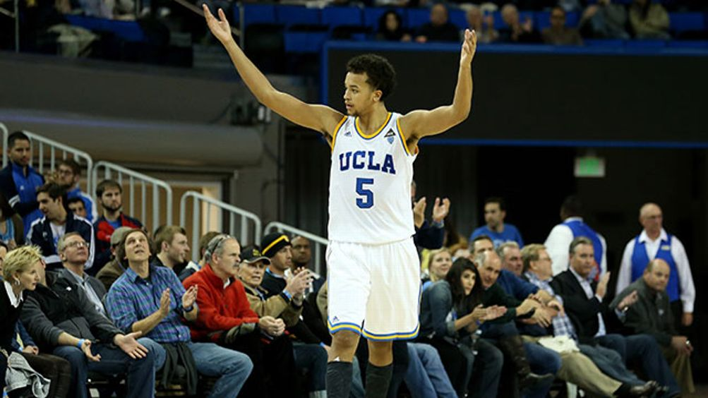 Kyle Anderson #5 of the UCLA Bruins celebrates during the second half against the Long Beach State 49ers at Pauley Pavilion on December 18, 2012 in Los Angeles, California. UCLA won 89-70.