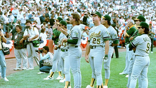 Members of the Oakland Athletics stand and stare