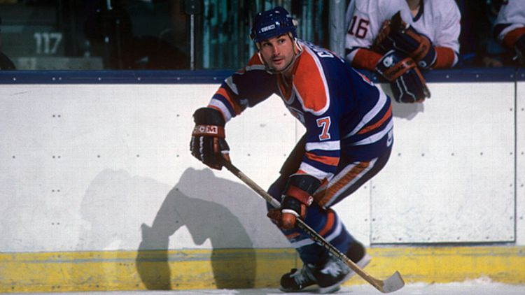 Paul Coffey #7 of the Edmonton Oilers
