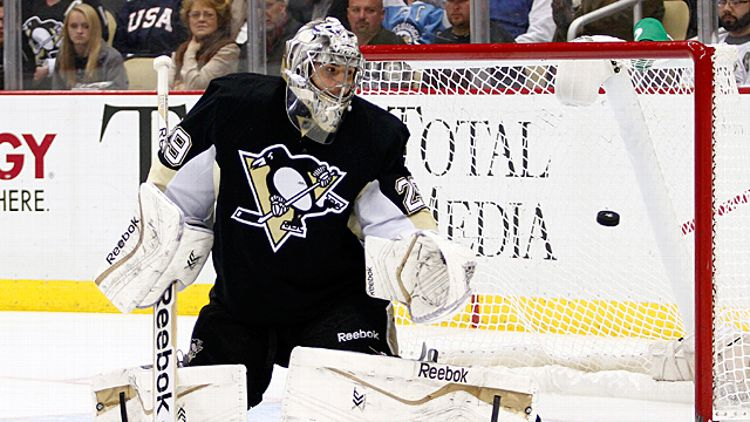 Marc-Andre Fleury #29 of the Pittsburgh Penguins