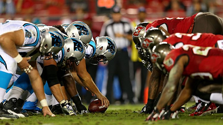The Carolina Panthers line up against the Tampa Bay Buccaneers