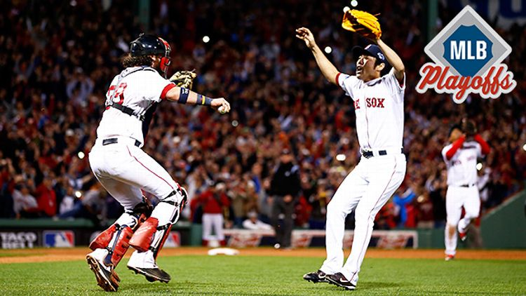 Boston's Koji Uehara and Jarrod Saltalamacchia celebrate