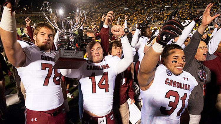 Connor Shaw and South Carolina celebrate beating Missouri