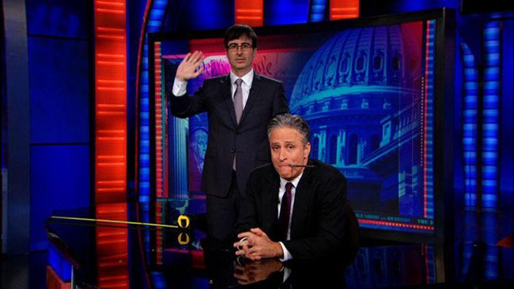 John Oliver and Jon Stewart