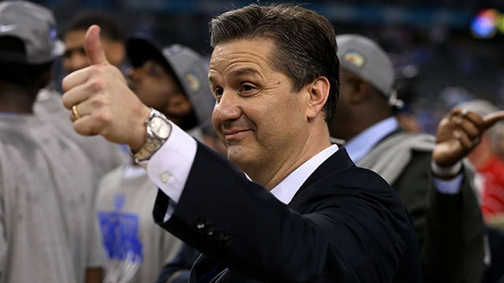 Head coach John Calipari celebrates after the Wildcats defeat the Kansas Jayhawks 67-59 in the National Championship Game of the 2012 NCAA Division I Men's Basketball Tournament at the Mercedes-Benz Superdome on April 2, 2012 in New Orleans, Louisiana.