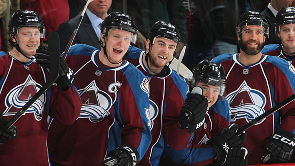 Nathan MacKinnon #29, Gabriel Landeskog #92, Ryan O'Reilly #90, PA Parenteau #15, and Maxime Talbot #25