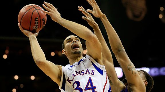 Perry Ellis #34 of the Kansas Jayhawks shoots against the Kansas State Wildcats in the second half during the Final of the Big 12 basketball tournament at Sprint Center on March 16, 2013 in Kansas City, Missouri.
