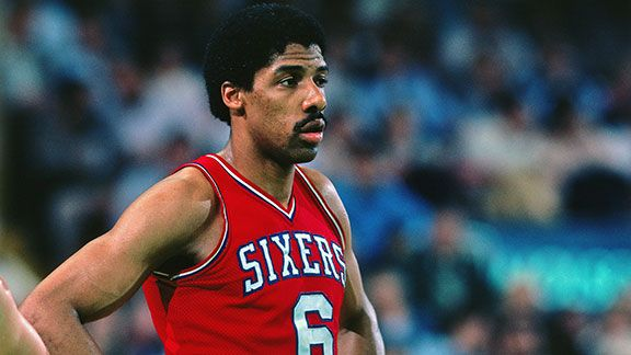 Julius Erving #6 of the Philadelphia 76ers looks on during a game against the Boston Celtics played in 1981 at the Boston Garden in Boston, Massachusetts.