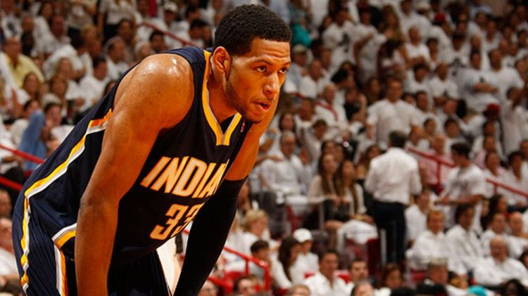 Danny Granger #33 of the Indiana Pacers looks on against the Miami Heat in Game Two of the Eastern Conference Semifinals during the 2012 NBA Playoffs on May 15, 2012 at American Airlines Arena in Miami, Florida.