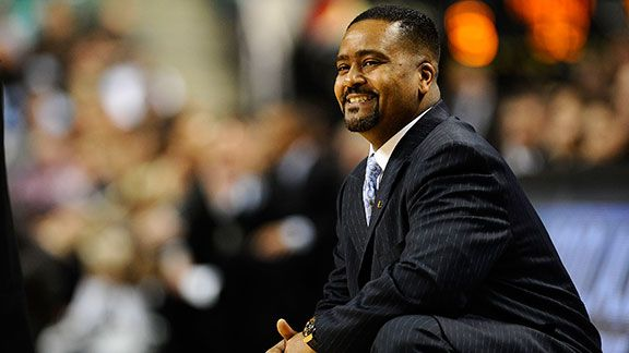 Frank Haith, head coach of the University of Miami Hurricanes looks from the bench against the Wake Forest Demon Deacons in their first round game in the 2010 ACC Men's Basketball Tournament at the Greensboro Coliseum on March 11, 2010 in Greensboro, Nort