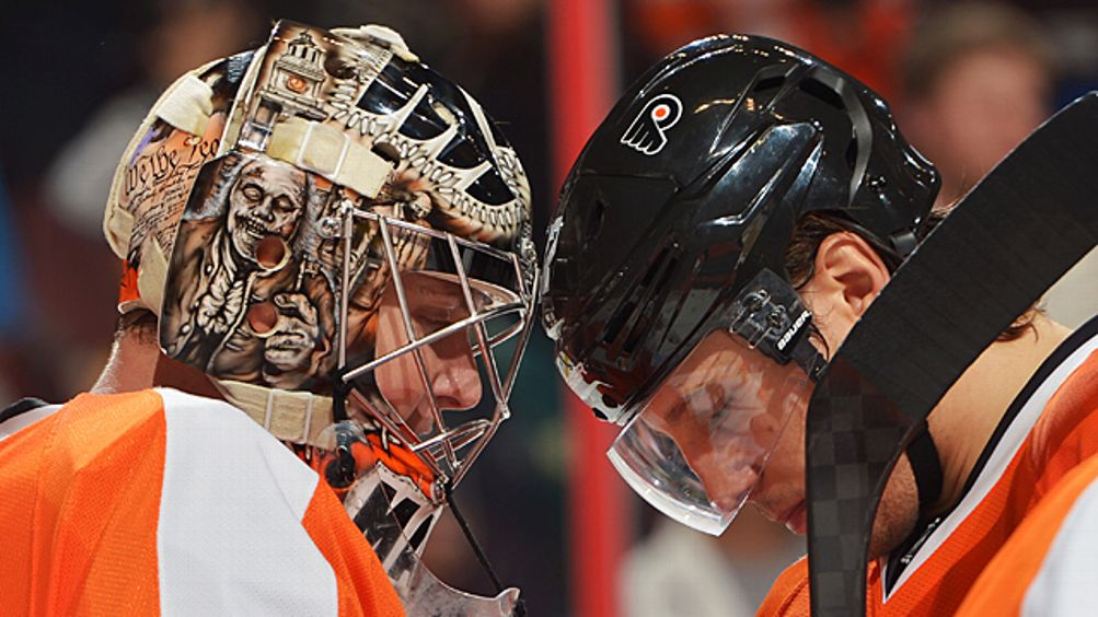 Steve Mason #35 and Luke Schenn #22 of the Philadelphia Flyers