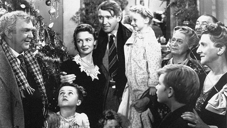 "James Stewart, center, is shown in the last scene of Frank Capra's 1947 film ""It's A Wonderful Life"". Hollywood columnist Army Acherd reported the actor died, Wednesday, July 2, 1997 at his home in Beverly Hills. He was 89."
