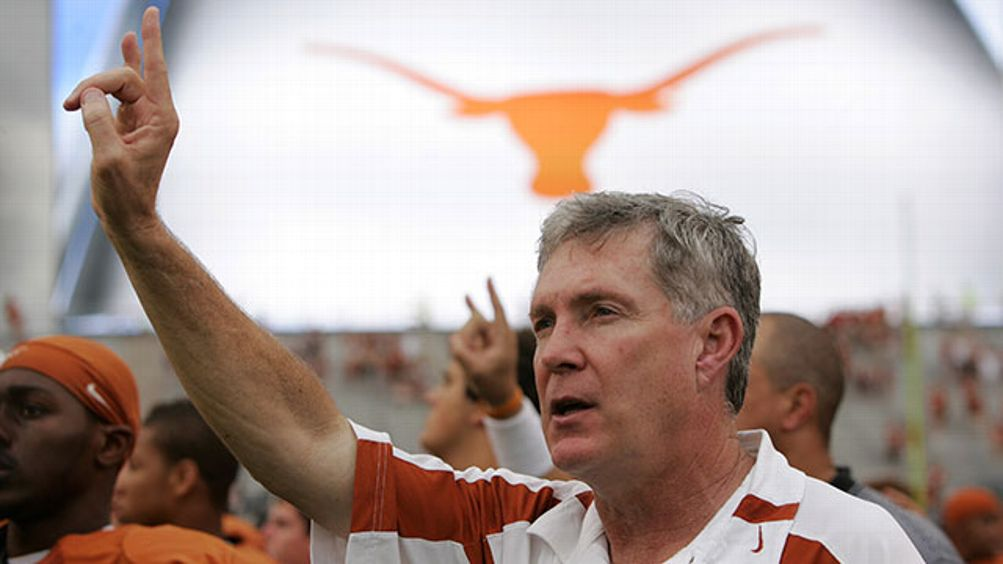 Head coach Mack Brown of the Texas Longhorns sings 'The Eyes of Texas' after a loss to the Kansas State Wildcats on September 29, 2007 at Darrell K Royal-Texas Memorial Stadium in Austin, Texas. Kansas State won 41-21.