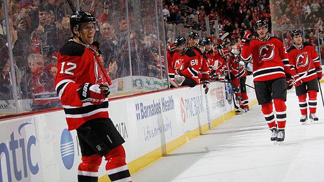 Damien Brunner #12 of the New Jersey Devils