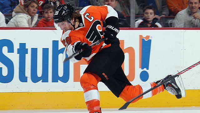 Claude Giroux #28 of the Philadelphia Flyers