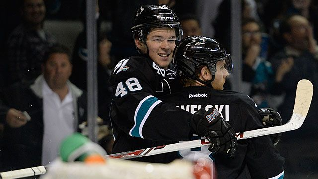 Joe Pavelski #8 and Tomas Hertl