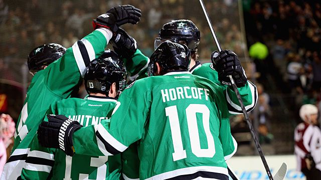 Ray Whitney #13 and Shawn Horcoff #10 of the Dallas Stars