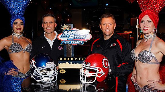 Chris Petersen and Kyle Whittingham at the 2010 Last Vegas Bowl