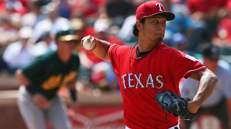 Texas Rangers pitcher Yu Darvish faces the Oakland A's