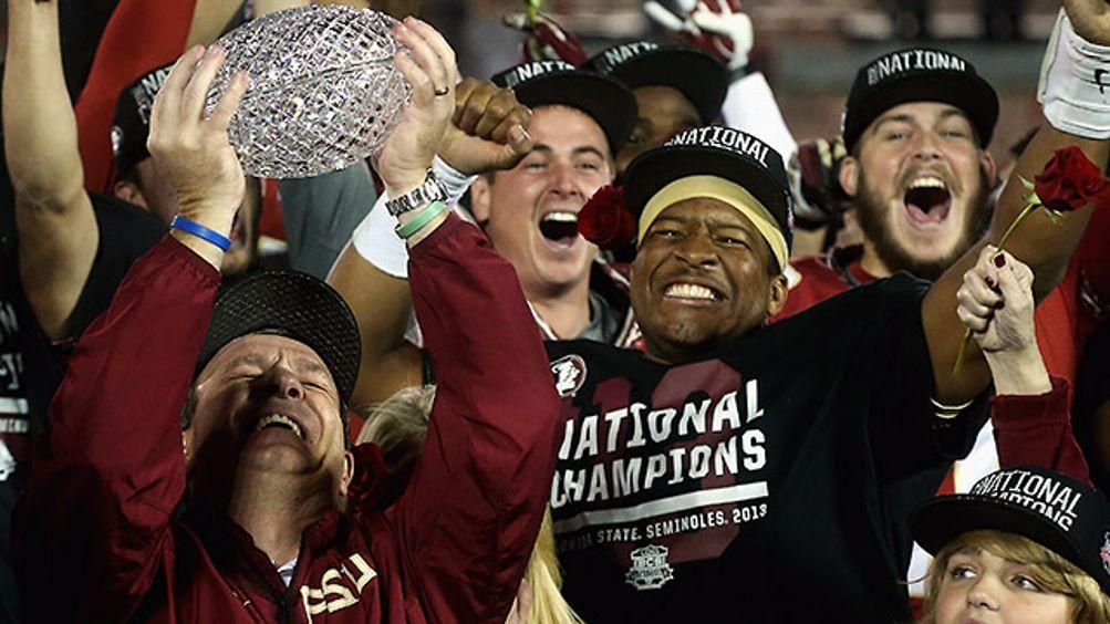 Jimbo Fisher and Jameis Winston celebrate Florida State's BCS Championship win