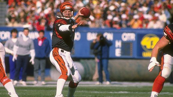 Quarterback Boomer Esiason of the Cincinnati Bengals throws the ball during a game against the Cleveland Browns at Riverfront Stadium in Cincinnati, Ohio. The Browns won the game, 23-16.