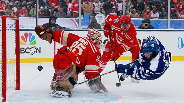 Goaltender Jimmy Howard #35 of the Detroit Red Wings makes a save on a scoring attempt by Nazem Kadri