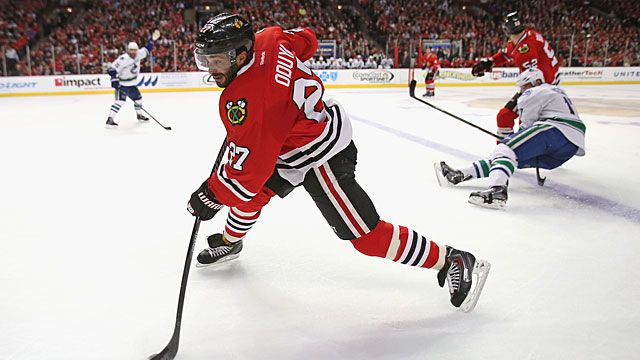Johnny Oduya #27 of the Chicago Blackhawks
