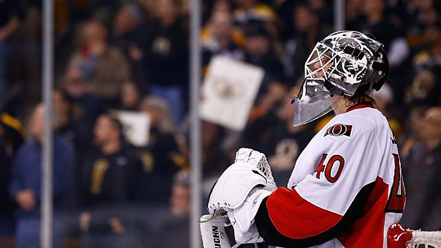 Robin Lehner #40 of the Ottawa Senators