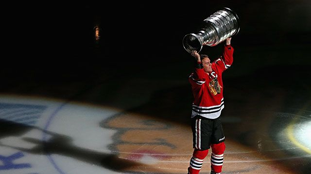 Jonathan Toews #19 of the Chicago Blackhawks