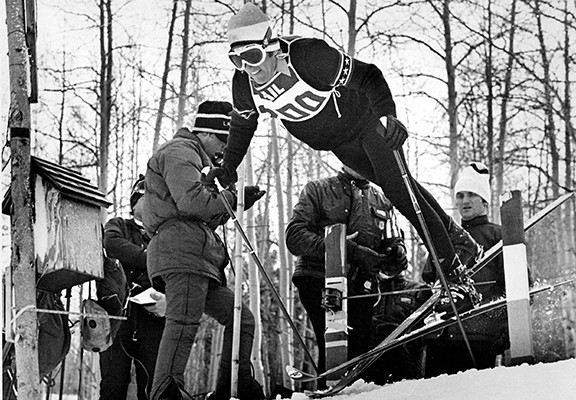 JAN 14 1971, JAN 17 1971; SPIDER SABICH DURING EARLIER, AMATEUR DAYS; Professional skiing has simple