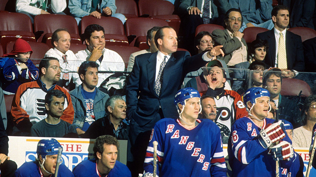 Head coach Mike Keenan of the New York Rangers