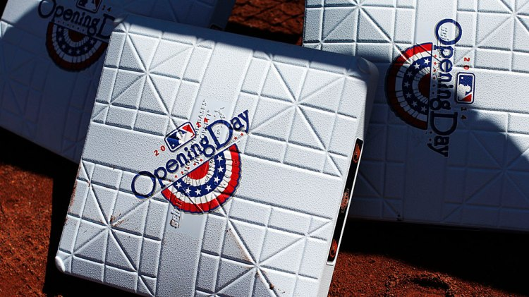 Bases sit on the warning track