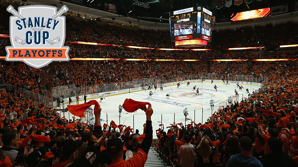 Fans cheer the Anaheim Ducks