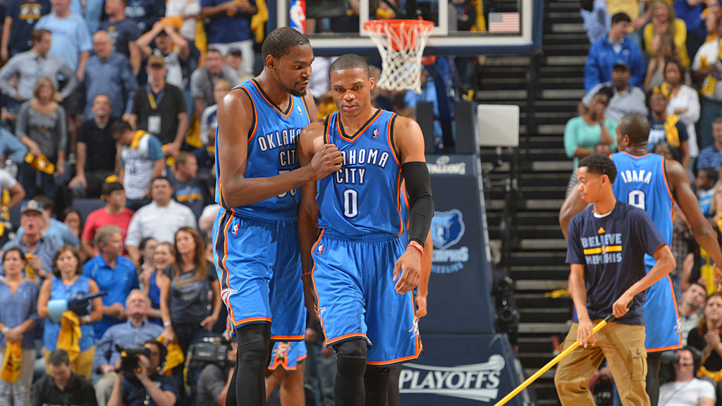Kevin Durant #35 and Russell Westbrook #0 of the Oklahoma City Thunder