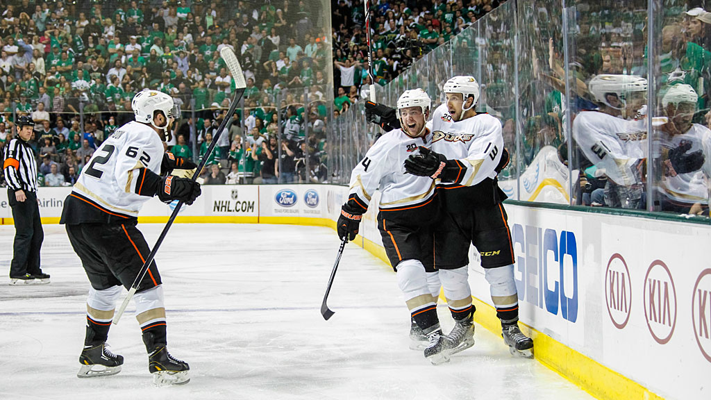 Cam Fowler #4, Patrick Maroon #62 and Nick Bonino #13 of the Anaheim Ducks