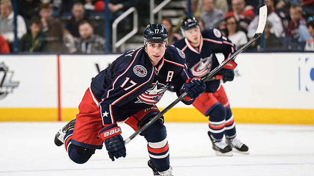 Brandon Dubinsky #17 of the Columbus Blue Jackets