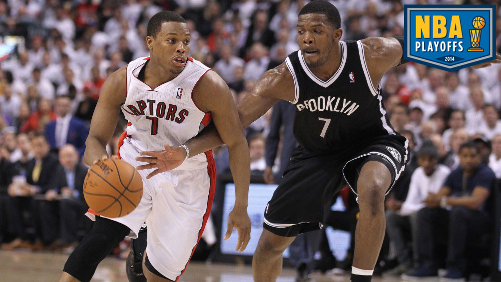 Joe Johnson #7 of the Brooklyn Nets defends against Kyle Lowry #7 of the Toronto Raptors in Game Five