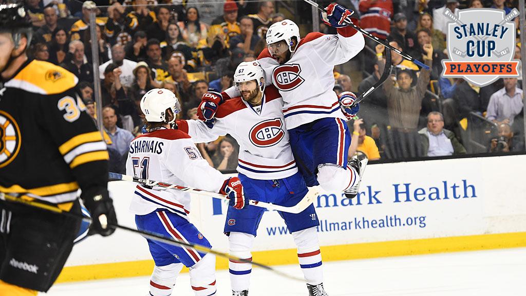 David Desharnais #51, Max Pacioretty #67 and P.K. Subban #76 of the Montreal Canadiens