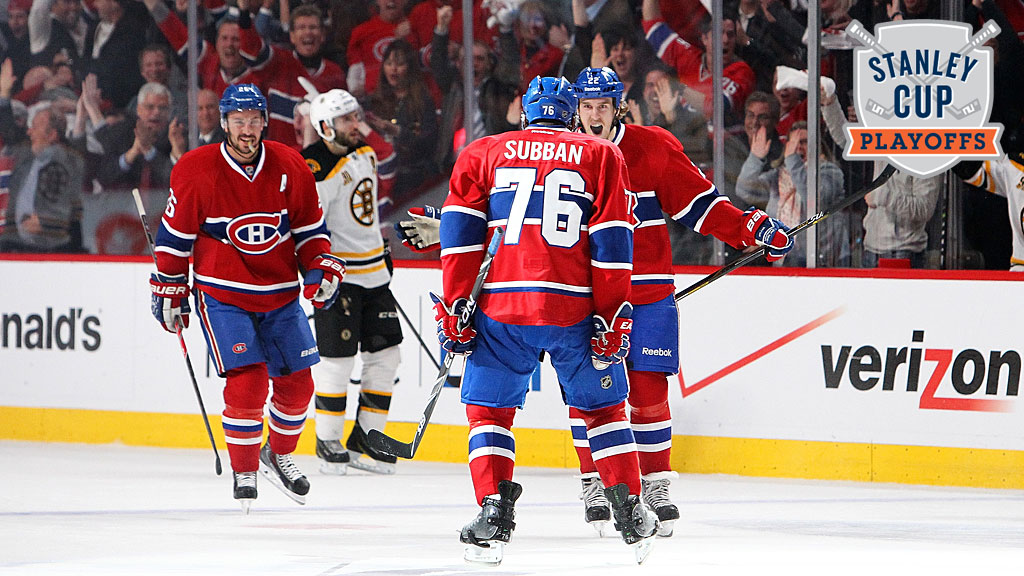 P.K. Subban #76, Dale Weise #22 and Josh Gorges #26 of the Montreal Canadiens