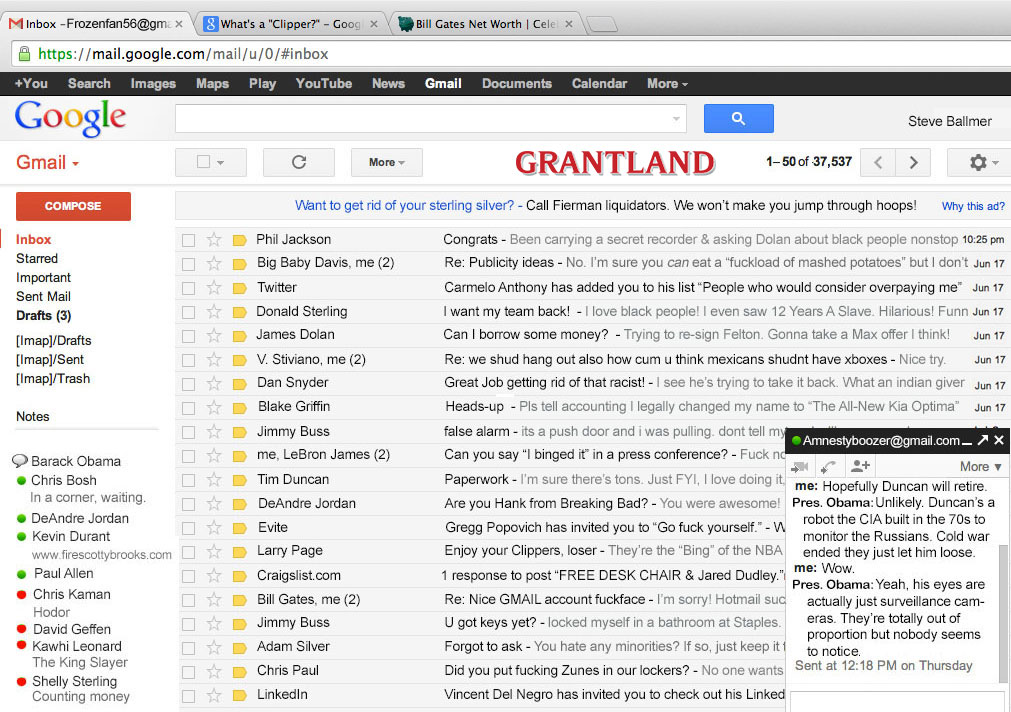 Hacked » Ballmer's Steve Grantland Email Fauxclusive
