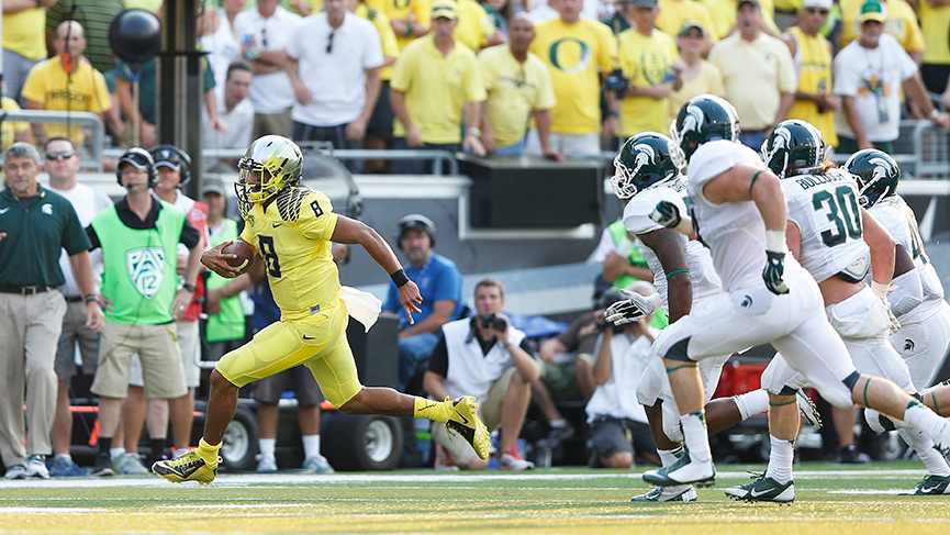 Marcus Mariota shredded Michigan State's typically stout defense last season.