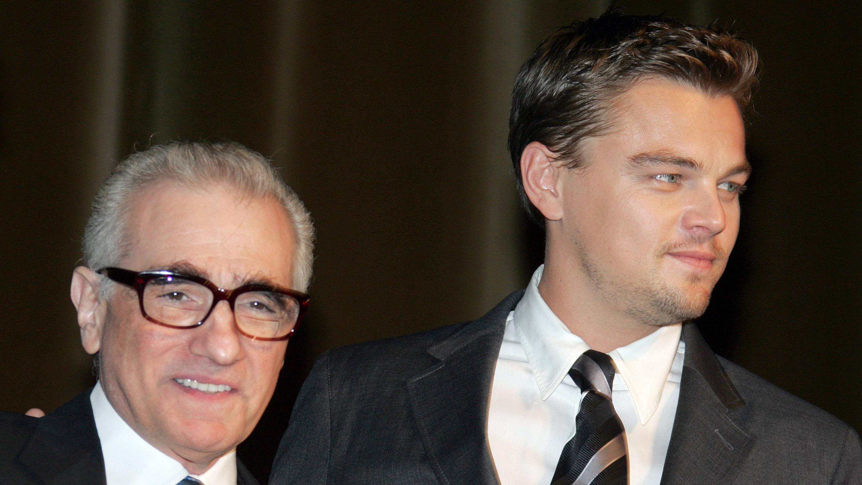 US actor Leonardo DiCaprio (R) poses wit
