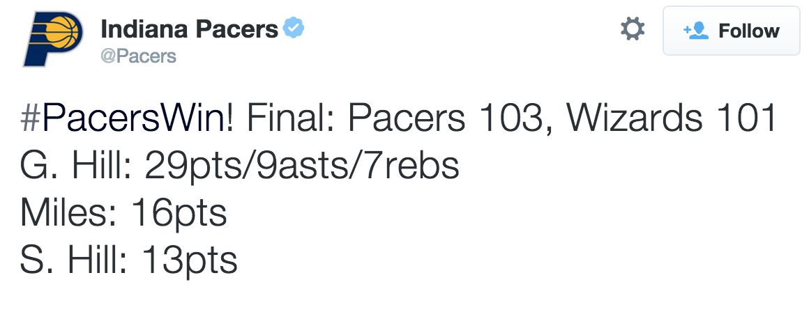 Pacers Tweet