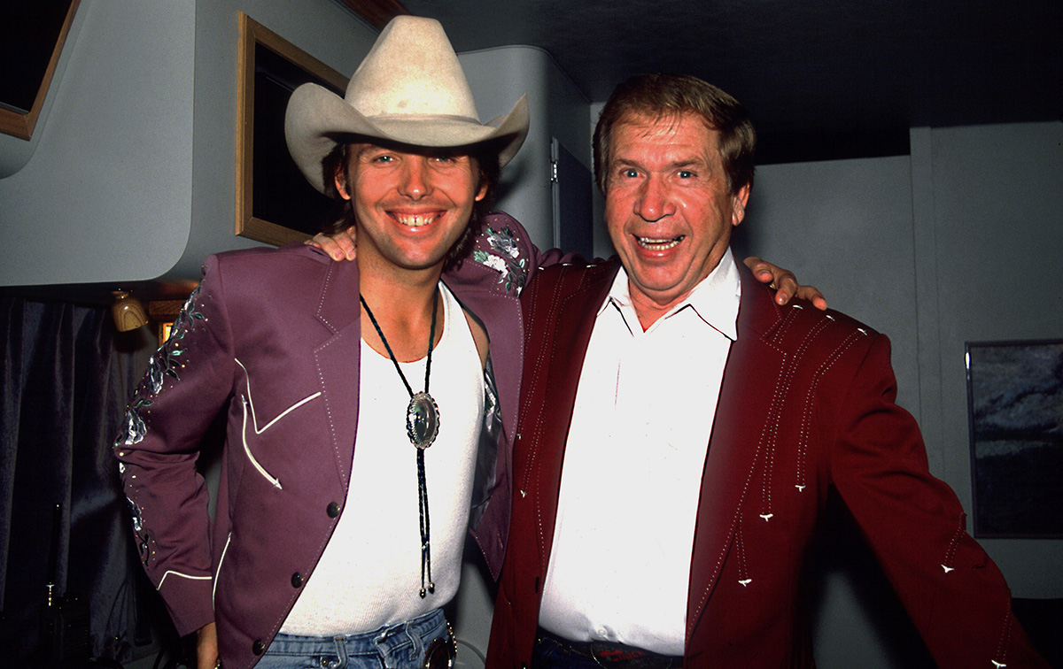 Yoakam with Buck Owens in 1988.