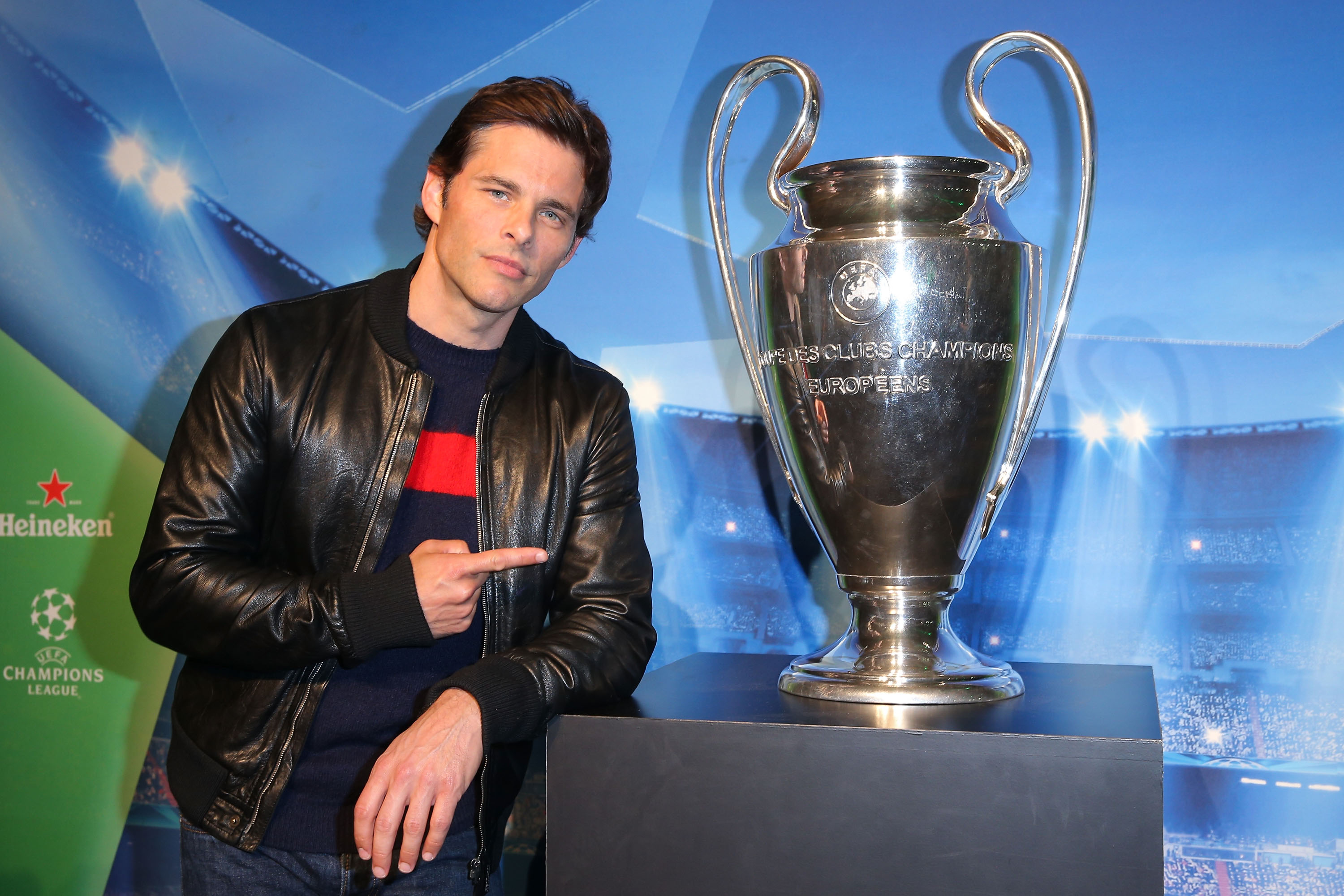 LOS ANGELES, CA - APRIL 20:  Actor James Marsden attends The UEFA Champions League Trophy Tour presented by Heineken on April 20, 2015 in Los Angeles, California.  (Photo by Imeh Akpanudosen/Getty Images for Heineken)