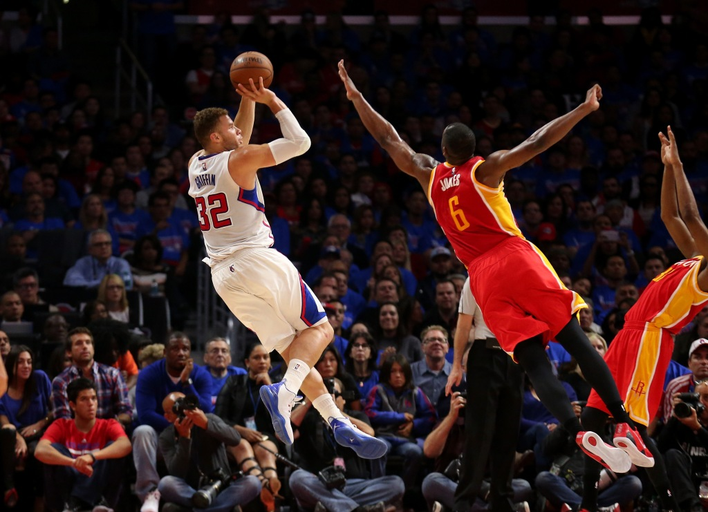 LOS ANGELES, CA - MAY 08: Blake Griffin #32 of the Los Angeles Clippers shoots over Terrence Jones #6 of the Houston Rockets during Game Three of the Western Conference semifinals of the 2015 NBA Playoffs at Staples Center on May 8, 2015 in Los Angeles, California.  (Photo by Stephen Dunn/Getty Images)