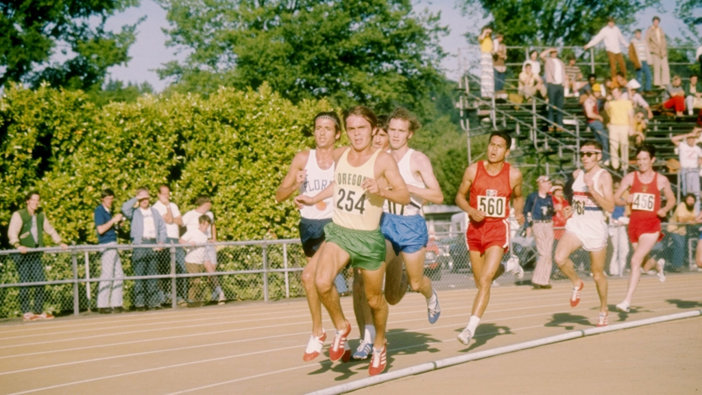 Steve Prefontaine leads during the AAU Meet in Eugene, Oregon.